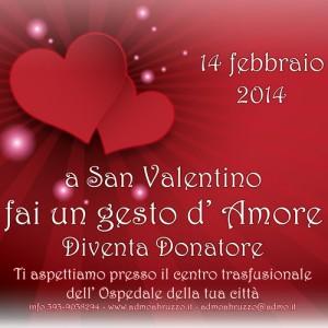 14 febbraio 2014 quanto amore circola fra i donatori!  e il sito internet di ADMO Federazione Italiana si presenta con un nuovo look