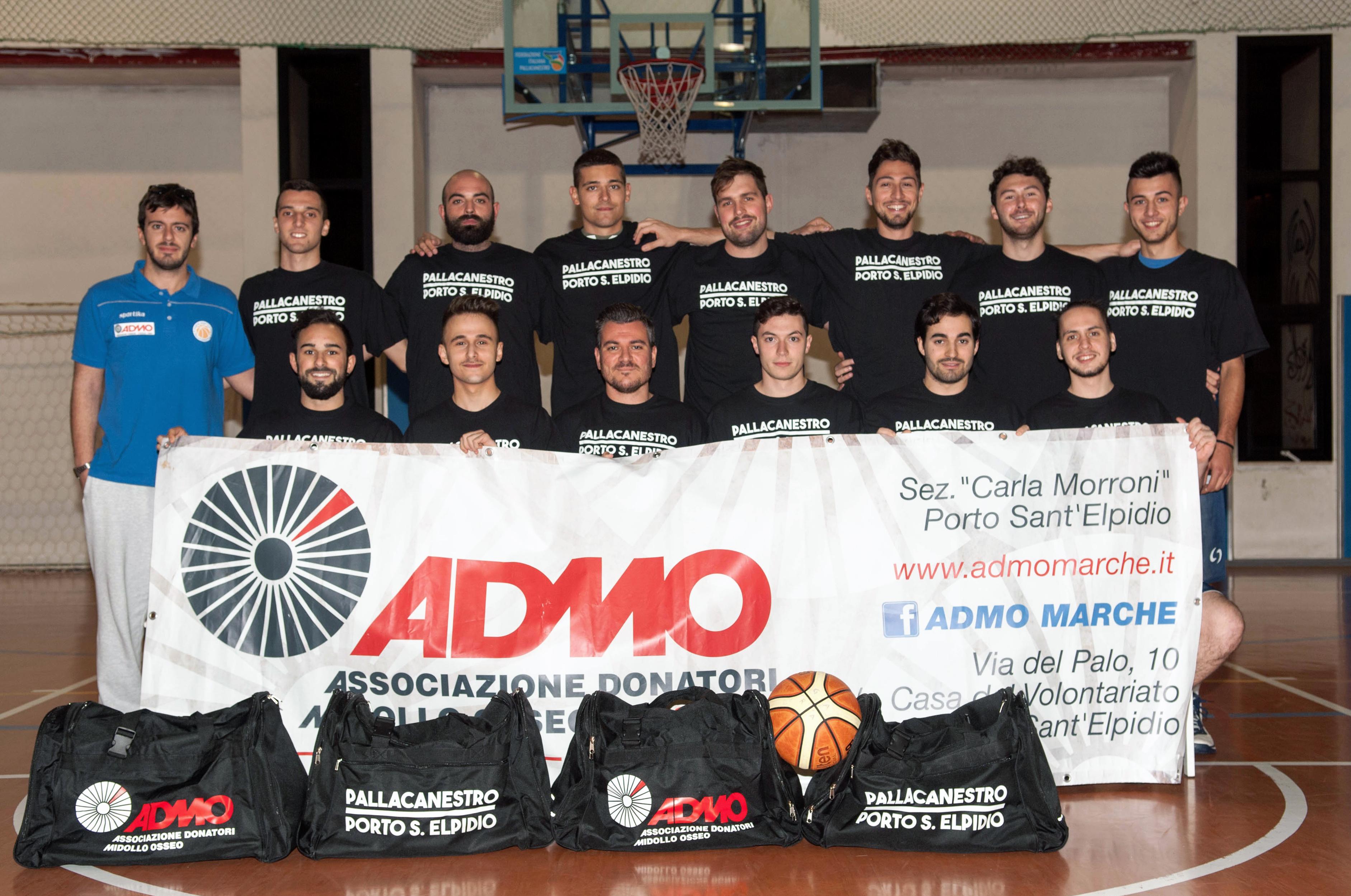 Il logo ADMO sulle maglie di Porto Sant'Elpidio Basket